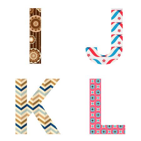 write abc: Set of colorful patterned leters - I, J, K, L. Full patterned alphabet, ABC - see in my portfolio. Vector illustration. Illustration