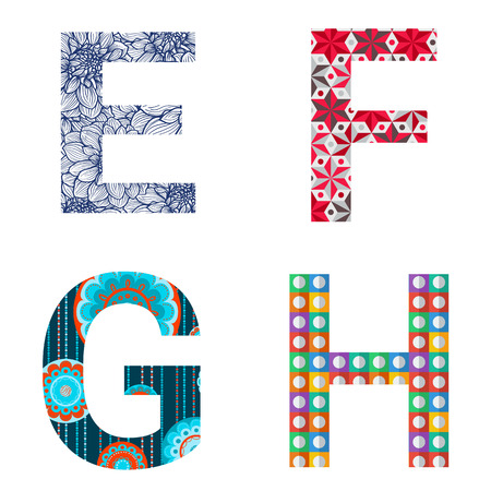 Set of colorful patterned leters - E, F, G, H. Full patterned alphabet, ABC - see in my portfolio. Vector illustration.