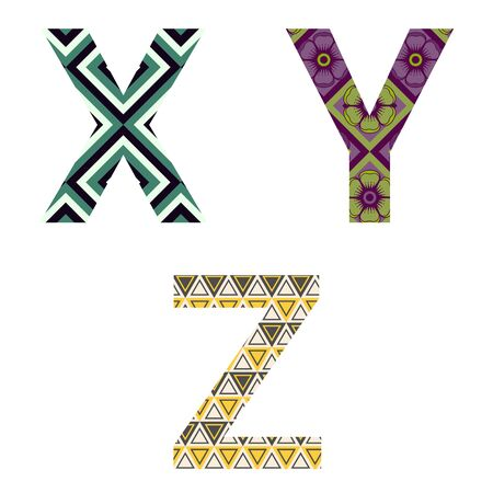 Set of colorful patterned leters - X, Y, Z. Full patterned alphabet, ABC - see in my portfolio. Vector illustration. Stock Illustratie