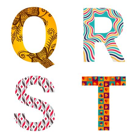 Set of colorful patterned leters - Q, R, S, T. Full patterned alphabet, ABC - see in my portfolio. Vector illustration. Stock Illustratie