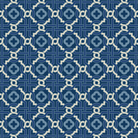 architecture design: Tangled modern pattern, based on traditional oriental arabic patterns - arabesque with quatreifoils. Seamless vector background. Plain colors - easy to recolor. Illustration