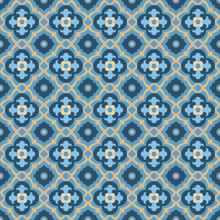 tiles floor: Floor tiles - seamless vintage pattern with quatrefoils. Seamless vector background. Plain colors - easy to recolor.