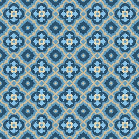 Vloertegels - naadloze vintage patroon met quatrefoils. Naadloze vector achtergrond. Effen kleuren - gemakkelijk te kleuren.
