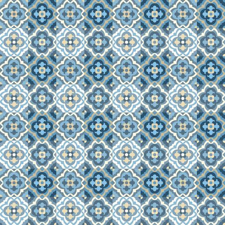 Vloertegels - naadloze vintage patroon met quatrefoils. Patchwork stijl patroon. Naadloze vector achtergrond. Effen kleuren - gemakkelijk te kleuren.