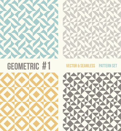 tessellation structure: Set of four geometric patterns. Collection of different abstract patterns, number 1. Teal, yellow and grey, dark gray backgrounds. Simple colors - easy to recolor. Seamless vector background.