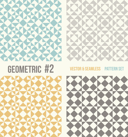 tessellation structure: Set of four geometric patterns. Collection of different abstract patterns, number 2. Teal, yellow and grey, dark gray backgrounds. Simple colors - easy to recolor. Seamless vector background.