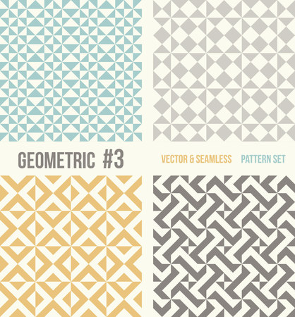 tessellation structure: Set of four geometric patterns. Collection of different abstract patterns, number 3. Teal, yellow and grey, dark gray backgrounds. Simple colors - easy to recolor. Seamless vector background.