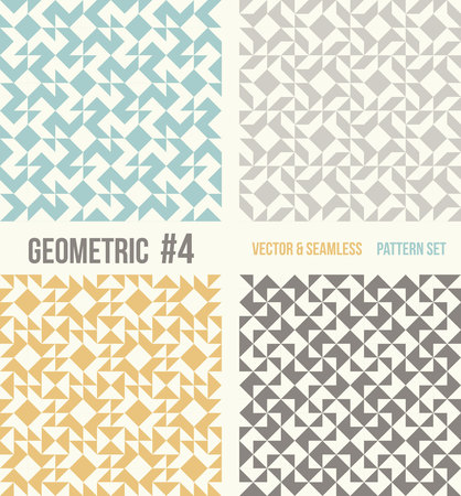 tessellation structure: Set of four geometric patterns. Collection of different abstract patterns, number 4. Teal, yellow and grey, dark gray backgrounds. Simple colors - easy to recolor. Seamless vector background.