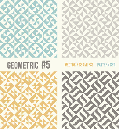 grey backgrounds: Set of four geometric patterns. Collection of different abstract patterns, number 5. Teal, yellow and grey, dark gray backgrounds. Simple colors - easy to recolor. Seamless vector background.