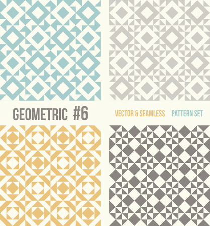 grey backgrounds: Set of four geometric patterns. Collection of different abstract patterns, number 6. Teal, yellow and grey, dark gray backgrounds. Simple colors - easy to recolor. Seamless vector background.