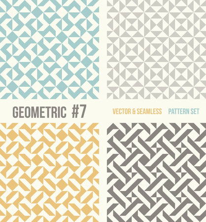 tessellation structure: Set of four geometric patterns. Collection of different abstract patterns, number 7. Teal, yellow and grey, dark gray backgrounds. Simple colors - easy to recolor. Seamless vector background. Illustration