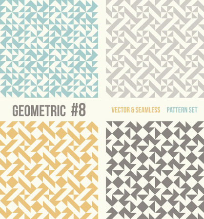 tessellation structure: Set of four geometric patterns. Collection of different abstract patterns, number 8. Teal, yellow and grey, dark gray backgrounds. Simple colors - easy to recolor. Seamless vector background. Illustration