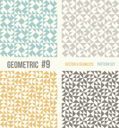 tessellation structure: Set of four geometric patterns. Collection of different abstract patterns, number 9. Teal, yellow and grey, dark gray backgrounds. Simple colors - easy to recolor. Seamless vector background. Illustration