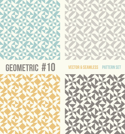 tessellation structure: Set of four geometric patterns. Collection of different abstract patterns, number 10. Teal, yellow and grey, dark gray backgrounds. Simple colors - easy to recolor. Seamless vector background. Illustration