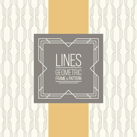 lattice frame: Geometric linear pattern and monoline frame. Vintage colors. Seamless abstract vector background.