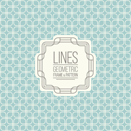 package design: Geometric linear pattern and monoline frame. Vintage colors. Seamless abstract vector background.  Package design - badge with geometric border and place for your logo, identity or text.