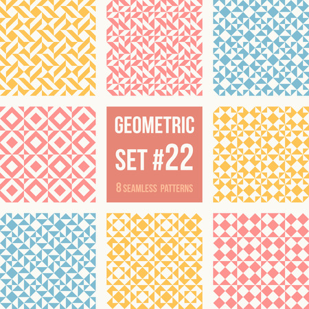 tessellation structure: Set of eight geometric patterns. Collection of different abstract patterns, number 22. Simple retro colors  colors - easy to recolor. Seamless vector background.