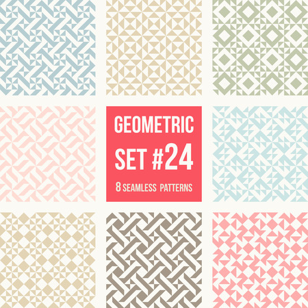 tessellation structure: Set of eight geometric patterns. Collection of different abstract patterns, number 21. Simple retro colors  colors - easy to recolor. Seamless vector background.