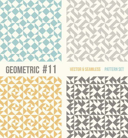 number 11: Set of four geometric patterns. Collection of different abstract patterns, number 11. Teal, yellow and grey, dark gray backgrounds. Simple colors - easy to recolor. Seamless vector background. Illustration