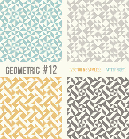 tessellation structure: Set of four geometric patterns. Collection of different abstract patterns, number 12. Teal, yellow and grey, dark gray backgrounds. Simple colors - easy to recolor. Seamless vector background.