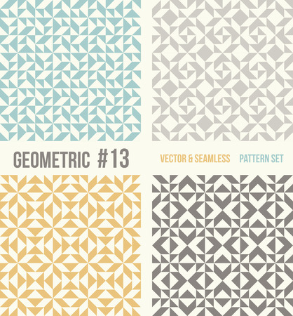 tessellation structure: Set of four geometric patterns. Collection of different abstract patterns, number 13. Teal, yellow and grey, dark gray backgrounds. Simple colors - easy to recolor. Seamless vector background.