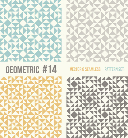 tessellation structure: Set of four geometric patterns. Collection of different abstract patterns, number 14. Teal, yellow and grey, dark gray backgrounds. Simple colors - easy to recolor. Seamless vector background.