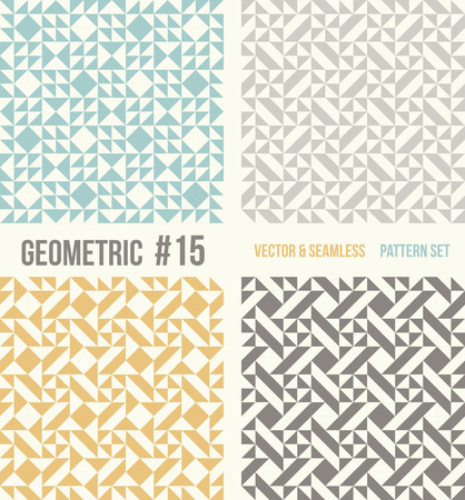 tessellation structure: Set of four geometric patterns. Collection of different abstract patterns, number 15. Teal, yellow and grey, dark gray backgrounds. Simple colors - easy to recolor. Seamless vector background.