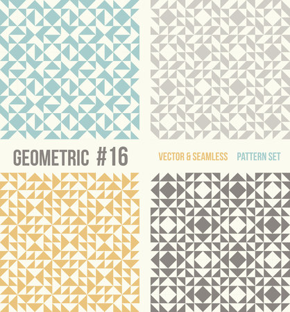 Set of four geometric patterns. Collection of different abstract patterns, number 16. Teal, yellow and grey, dark gray backgrounds. Simple colors - easy to recolor. Seamless vector background.
