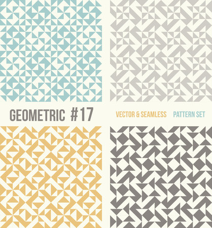 tessellation structure: Set of four geometric patterns. Collection of different abstract patterns, number 17. Teal, yellow and grey, dark gray backgrounds. Simple colors - easy to recolor. Seamless vector background.