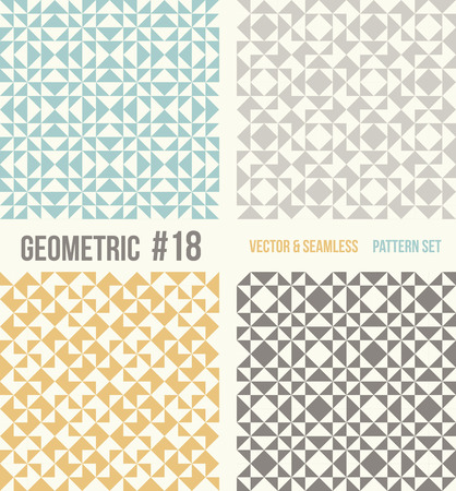 tiffany: Set of four geometric patterns. Collection of different abstract patterns, number 18. Teal, yellow and grey, dark gray backgrounds. Simple colors - easy to recolor. Seamless vector background.