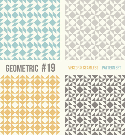 tessellation structure: Set of four geometric patterns. Collection of different abstract patterns, number 19. Teal, yellow and grey, dark gray backgrounds. Simple colors - easy to recolor. Seamless vector background.