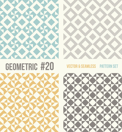 tessellation structure: Set of four geometric patterns. Collection of different abstract patterns, number 20. Teal, yellow and grey, dark gray backgrounds. Simple colors - easy to recolor. Seamless vector background.