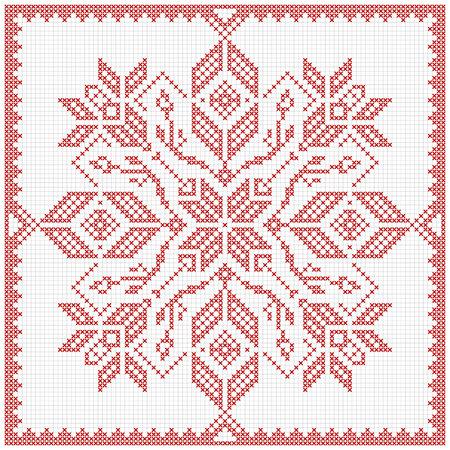 스칸디나비아 스타일의 크로스 스티치 패턴. 전통 biscornu 디자인 - 자수에 대한 기하학적 redwork 장식. 크리스마스 디자인에 대 한 완벽 한입니다. 스쳐 테두리, 프레임. 벡터 일러스트 레이 션. 스톡 콘텐츠 - 49033288