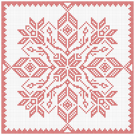 Scandinavian style cross stitch pattern. Traditional biscornu design - geometric redwork ornament for embroidery.  Perfect for Christmas design. Cross-stitch border, frame. Vector illustration.
