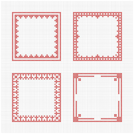 Set of four square frames - Cross stitch pattern. Redwork ornament for embroidery. Cross-stitch border. Perfect for Christmas design. Vector illustration. Ilustracja