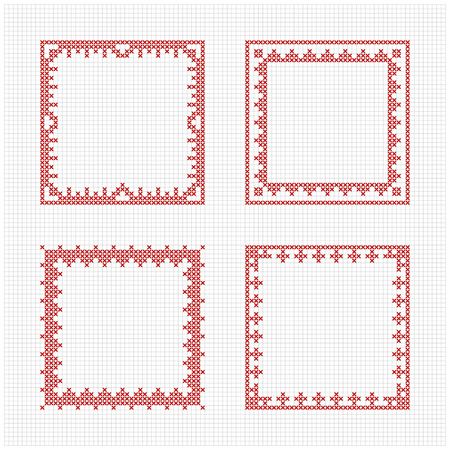 Set of four square frames - Cross stitch pattern. Redwork ornament for embroidery. Cross-stitch border. Perfect for Christmas design. Vector illustration. Vectores