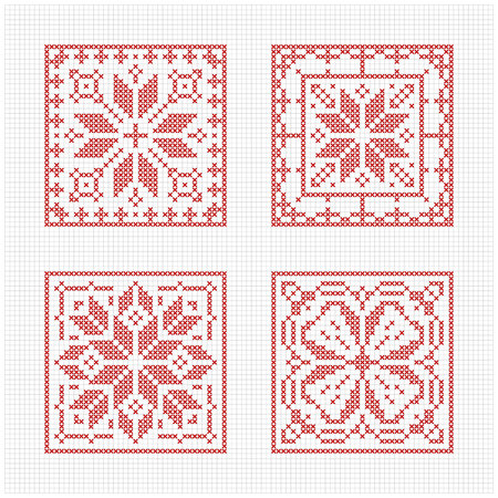 Set of tiles, Scandinavian cross stitch pattern. Traditional biscornu design - geometric redwork ornament for embroidery.  Perfect for Christmas design. Cross-stitch border, frame. Vector illustration