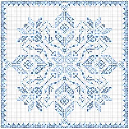Scandinavian style cross stitch pattern. Traditional biscornu design - geometric   ornament for embroidery.  Perfect for Christmas design. Cross-stitch border, frame. Vector illustration. Illustration