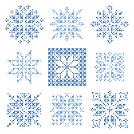 flocon de neige: Ensemble de 9 points de croix flocons de neige mod�le, style scandinave. Ornement g�om�trique pour la broderie. Parfait pour la conception de No�l. Vector illustration