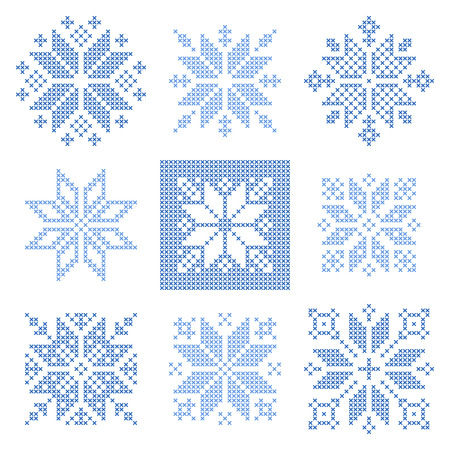 schneeflocke: Set of 9 cross-stitch snowflakes pattern, Scandinavian style. Geometric  ornament for embroidery.  Perfect for Christmas design.   Vector illustration