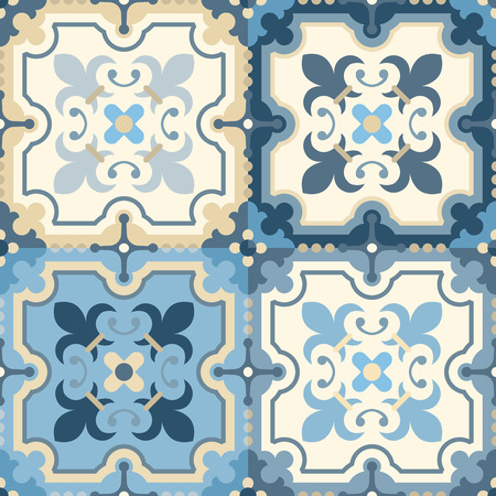 edwardian: Floor tiles - seamless vintage pattern with quatrefoils. Seamless vector background. Plain colors - easy to recolor.