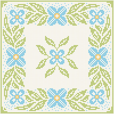 rushnyk: Cross stitch flower pattern. Floral frame for cross-stitch embroidery in Ukrainian traditional ethnic style. Blue and green, vector illustration. Illustration