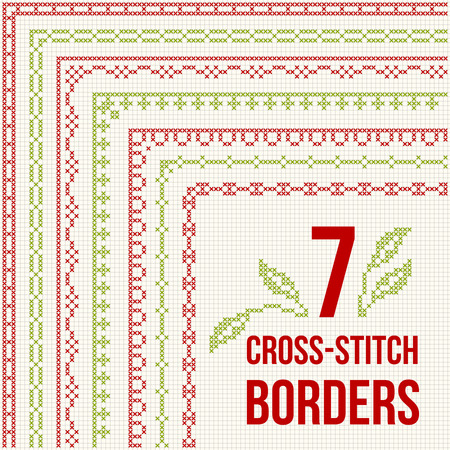 work home: Set of cross stitch pattern for thin borders. Geometric frames for cross-stitch embroidery in classic style. Red and green, vector illustration. Illustration