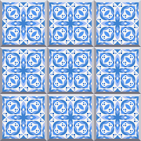 edwardian: Floor tiles - seamless pattern with ceramics in blue color. Seamless background. Illustration
