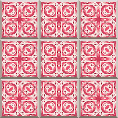 edwardian: Floor tiles - seamless pattern with ceramics in red color. Seamless background.