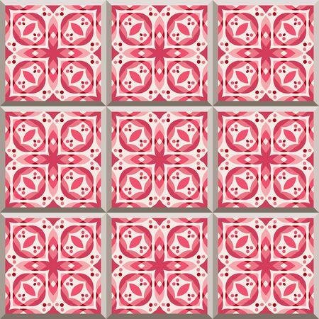 Tegels - naadloze patroon met keramiek in rode kleur. Naadloze achtergrond.