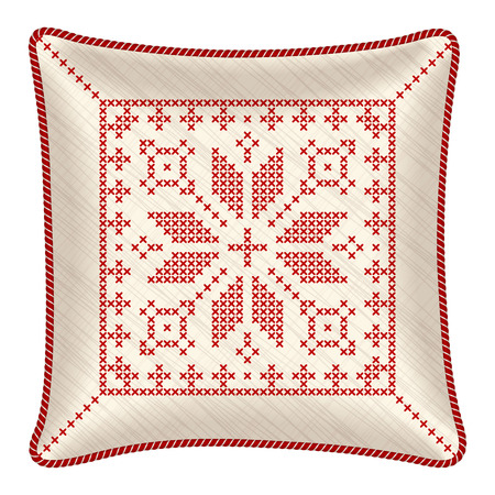 throw cushion: pillow with embroidered pillowcase. Traditional Scandinavian ornament for Christmas - bright red and white snowflakes in cross stitch pattern. illustration.