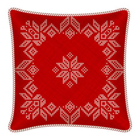 punto cruz: almohada con una funda de almohada bordada. ornamento escandinavo tradicional para la Navidad - copos de nieve rojos y blancos brillantes en el patrón de punto de cruz. ilustración. Vectores