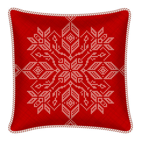 pillow with embroidered pillowcase. Traditional Scandinavian ornament for Christmas - bright red and white snowflakes in cross stitch pattern. illustration.