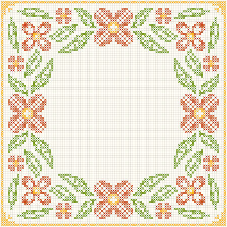 rushnyk: Cross stitch flower pattern. Floral frame for cross-stitch embroidery in Ukrainian traditional ethnic style. illustration.